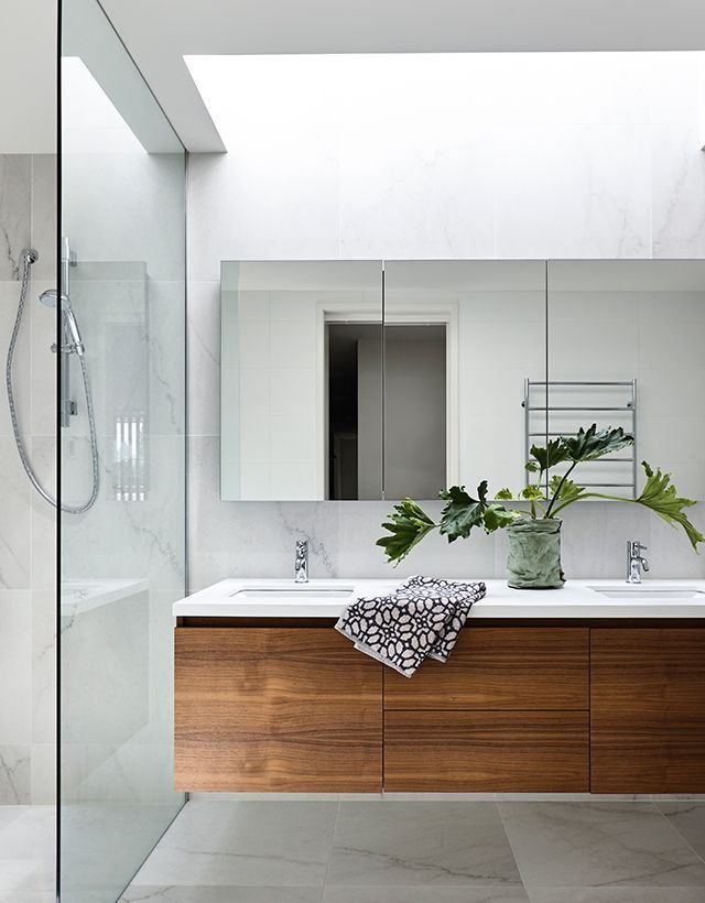 floating vanity with inset sinks Elsternwick House