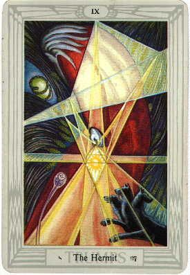 Thoth Tarot - The Hermit - The powerful Thoth Tarot deck was designed by Aleister Crowley, an influencial and controversial occultist of the early 20th century. He worked on the deck from 1938 to 1943.