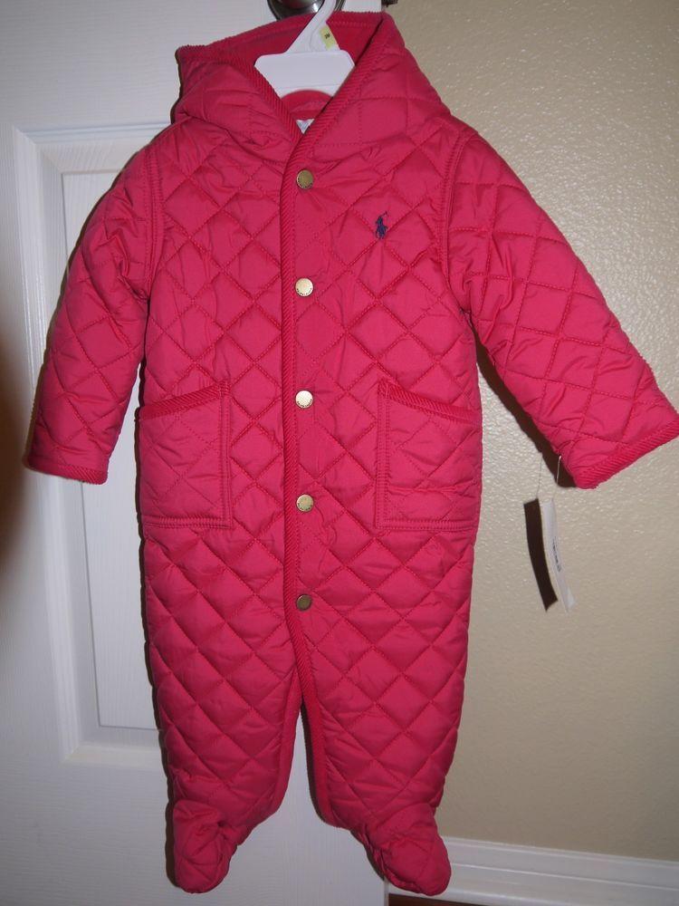 406f445d3 NWT Ralph Lauren Baby Girls 1PC Pink Quilted Fleece Romper Sz. 9 Months $90  #