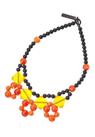 マーベルネックレス ブラック×オレンジ