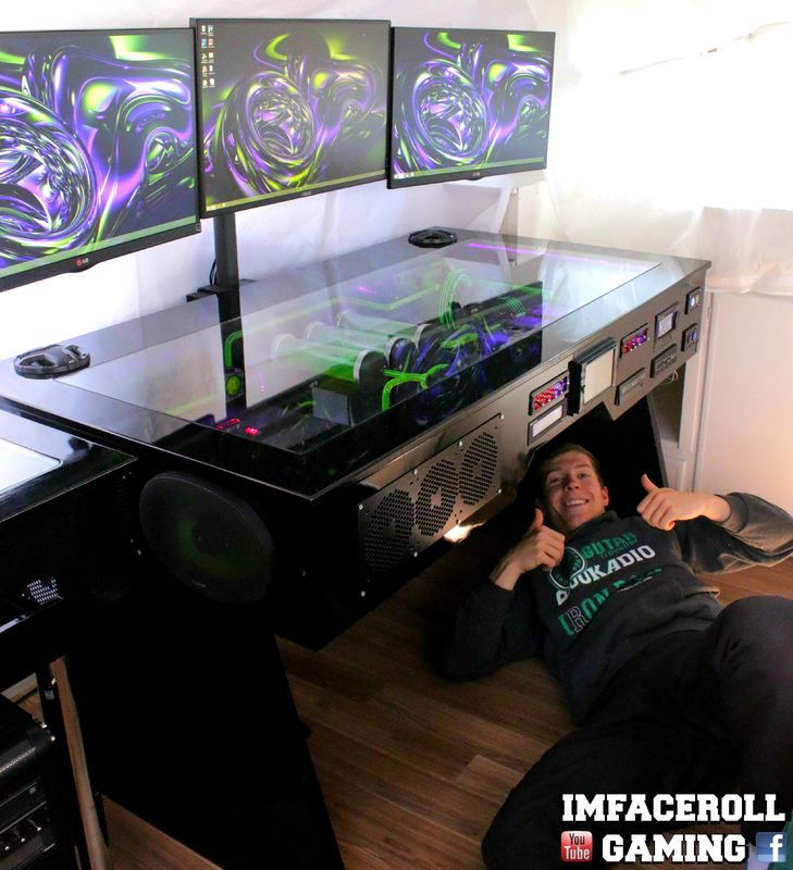 Raz3r D3sk Final Video Gaming Desk Pc Build By L3p Custom Pc Gaming Computer Setup Pc Desk