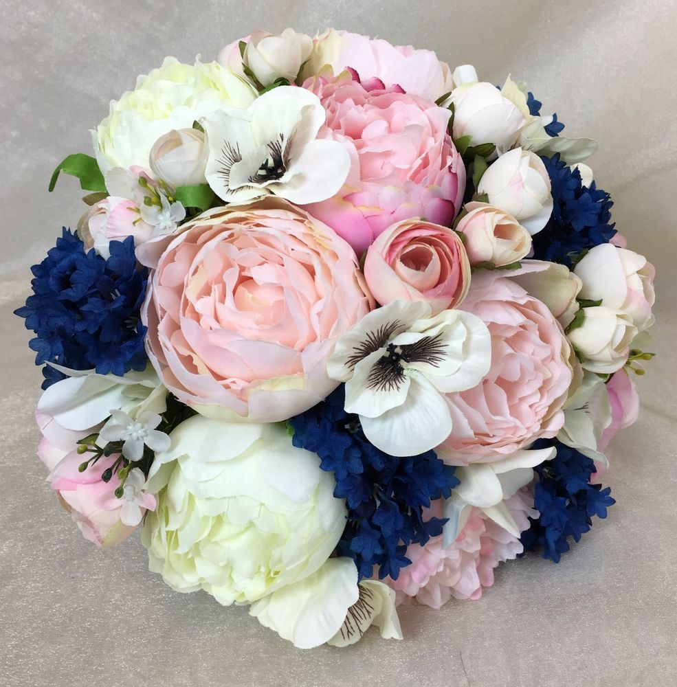 Light Pink/Pink/Cream Peony Blue Artificial Silk Flowers Wedding ...