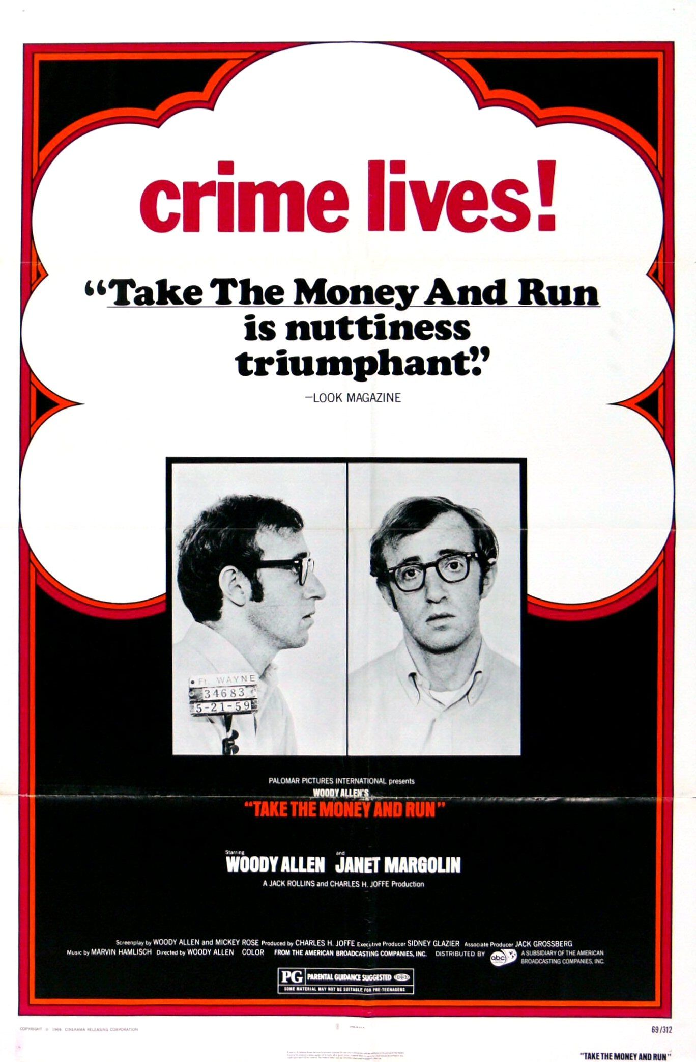 """""""Take the Money and Run"""" movie poster, 1969. Woody allen"""