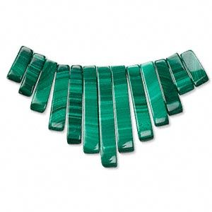 Focal, malachite (natural), 10-12mm to 26-29mm graduated mini-fan, A grade. Sold per 13-piece set. $29