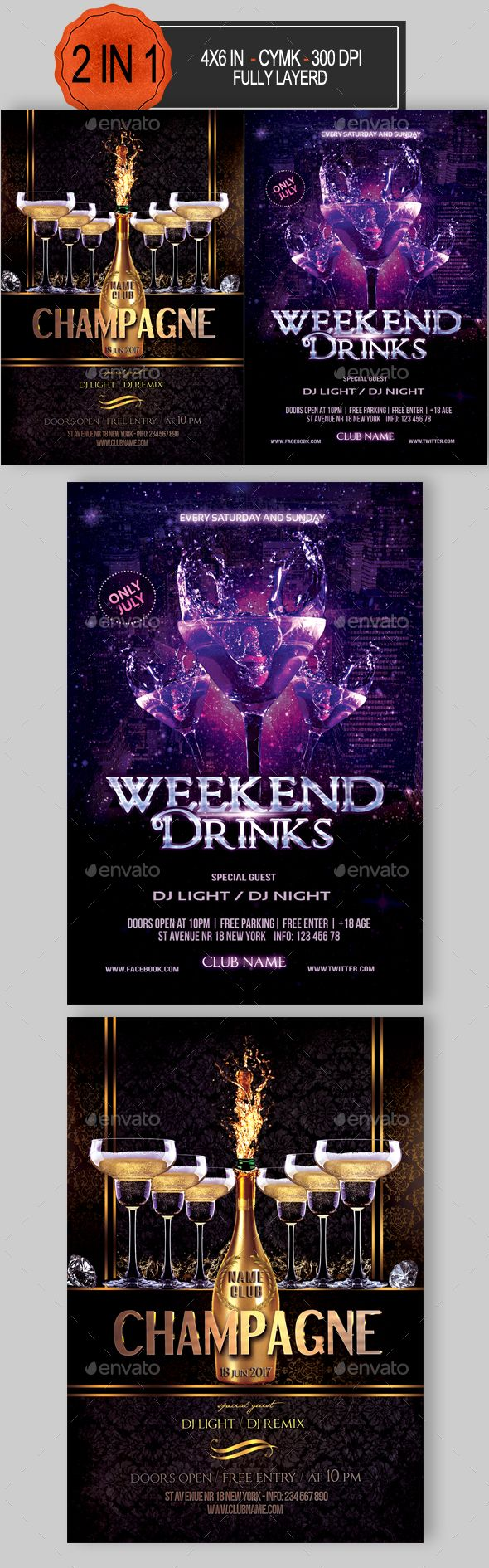 Drinks Party Flyer Bundle   Party flyer, Flyer template and Flyer ...