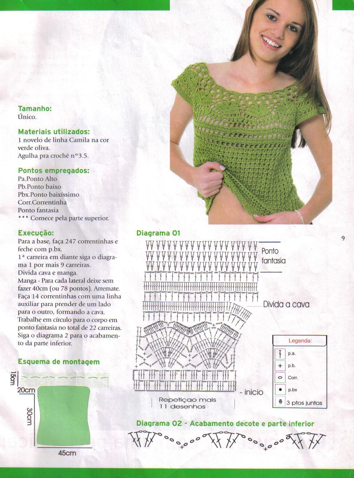 blusa+verde+con+canesu+pat.jpg 1,184×1,600 píxeles | Crochet °•° Top ...