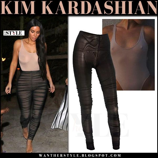 14bb743bd1dfe Kim Kardashian in pink bodysuit and sheer black leggings