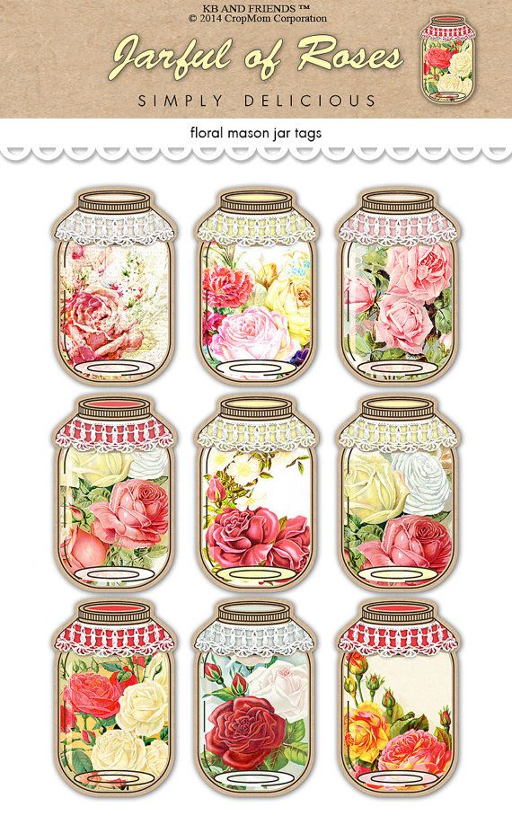 Digital Shabby Chic  Romantic Roses Mason Jar Tags by KBandFriends, $5.00