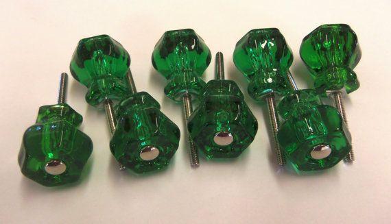 Fresh Green Glass Cabinet Pulls
