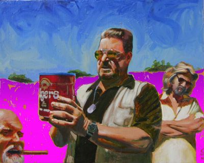 """Me, Donny, Walter and the Dude"" original art from The Big Lebowski Series by Chuck Hamilton,  A.T. HUN Art Gallery, Savannah, GA.  16"" X 20"" print available online at athun.com."