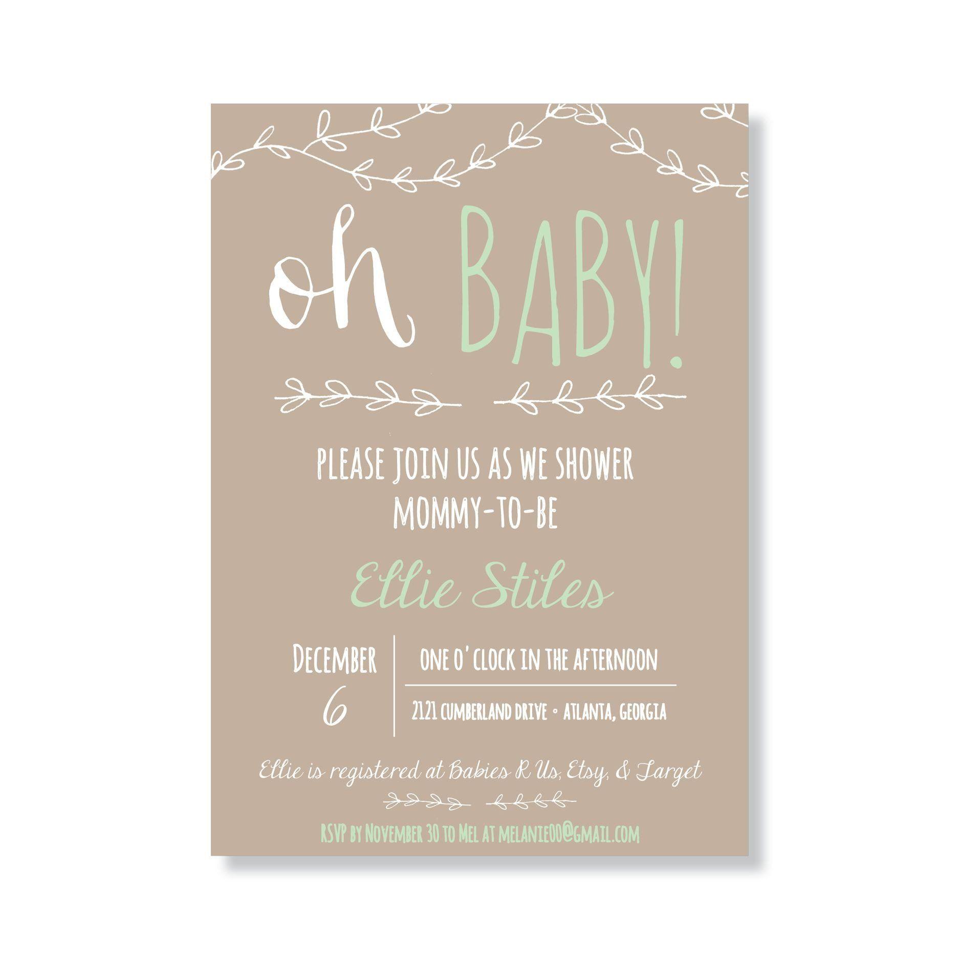 Baby Girl Shower Invitations Wording Rustic Gender Neutral