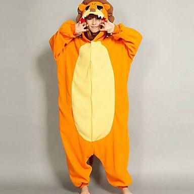 Unisex Orange Male Lion Flannel Kigurumi Pajama