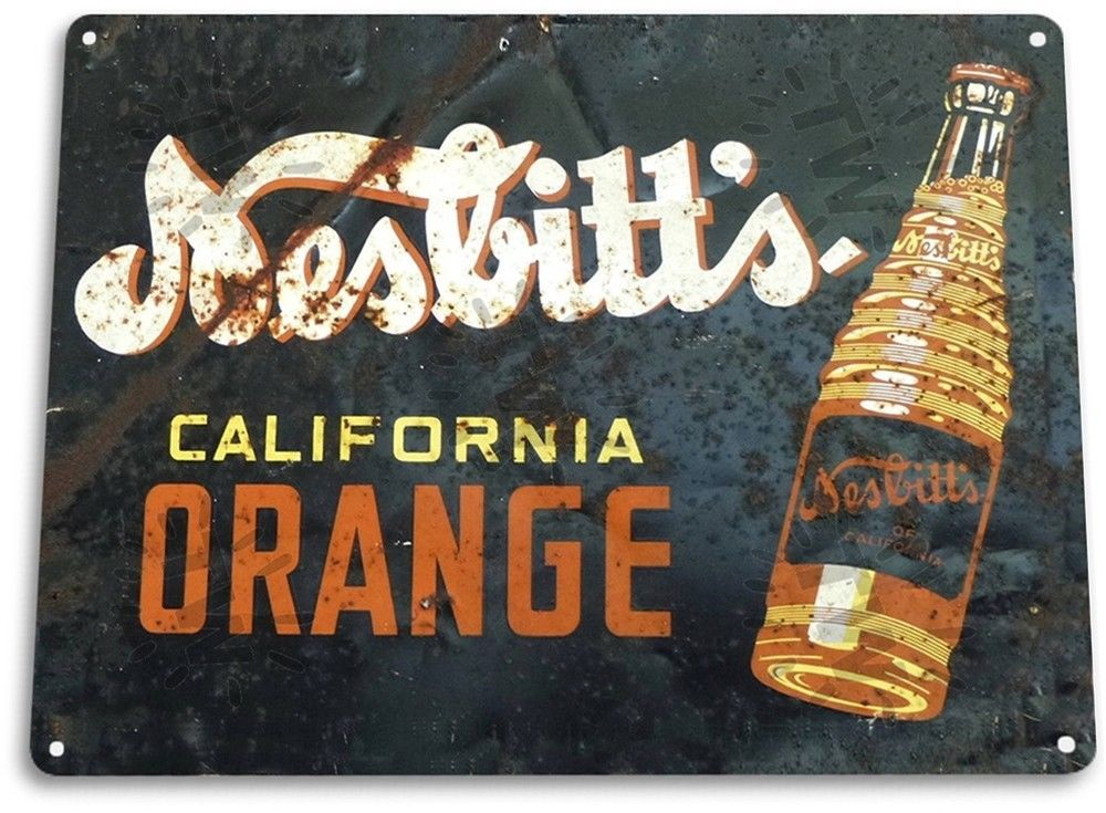 "TIN SIGN ""Nesbitt's Orange"" Metal Decor Wall Art Coke Soda Store Kitchen A800 