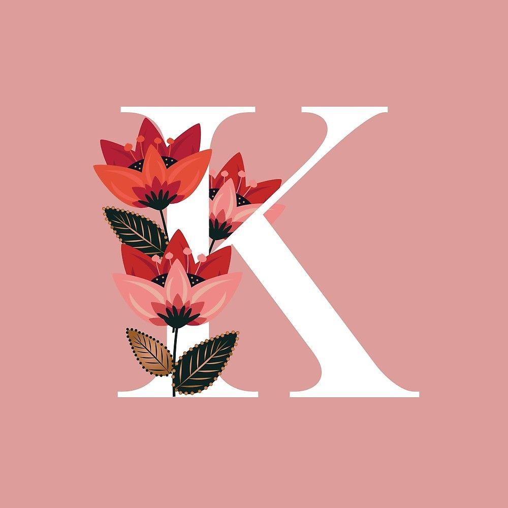 Venice Floral Monogram K By Werlangpaper Redbubble Floral Monogram Floral Poster Alphabet Wallpaper