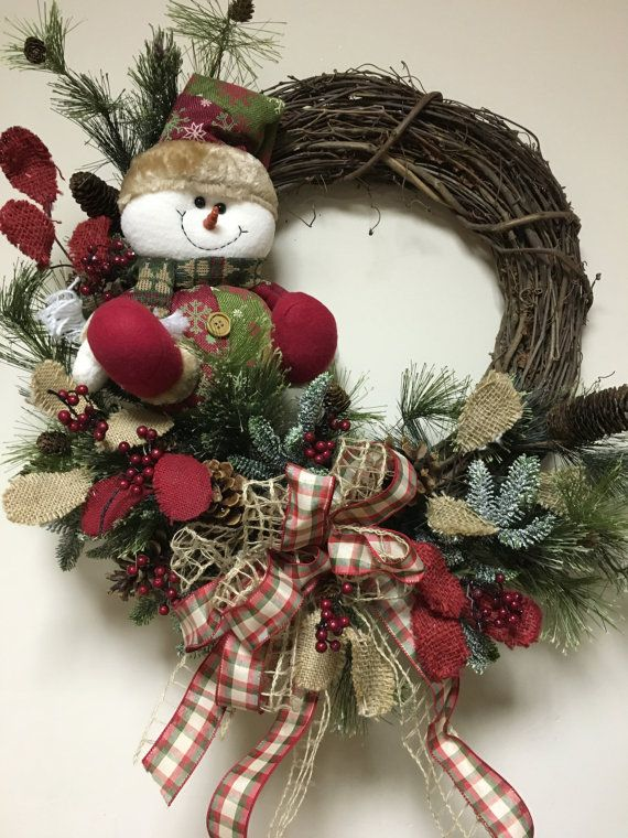 Custom designed grapevine wreath with artificial greens for Burlap snowman wreath