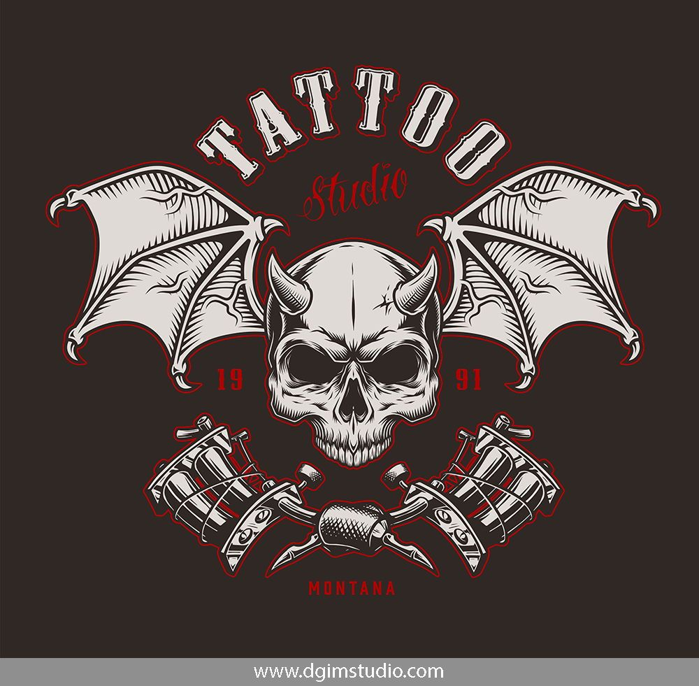 Demons Emblems Collection Skull Illustration Unique Poster Vintage Tshirt Design