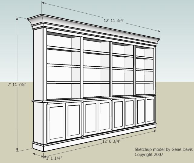 Built-In Bookshelf. Nice dimensions and doors. how to raise up on feet