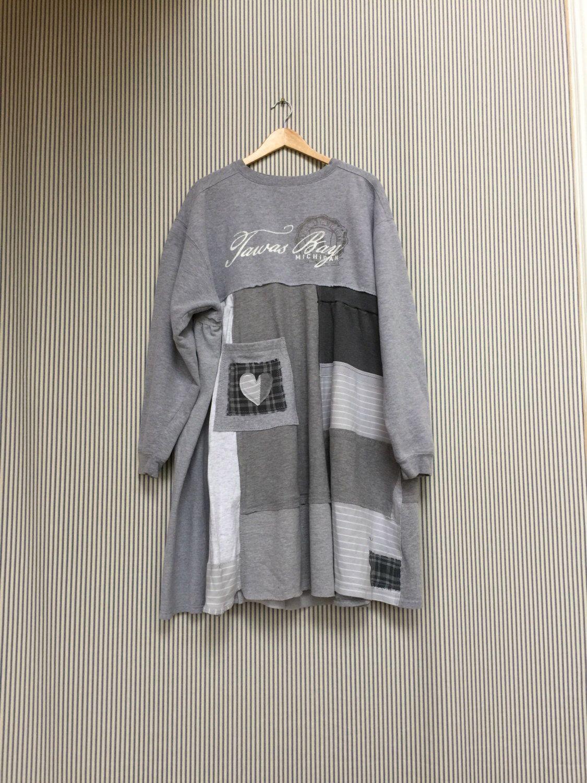 83e2d9212231 Upcycled Plus Size Sweatshirt Tunic Dress Gray Tawas Bay Michigan ...