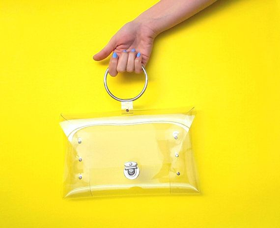 11854f33c3f8 Clear wristlet bag for nfl match, luxury bag,metal ring handle ...