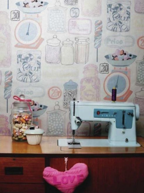 Candy Wallpaper Retro Sewing Machine Fresh Living Room Design Stunning Sewing Machine Wallpaper