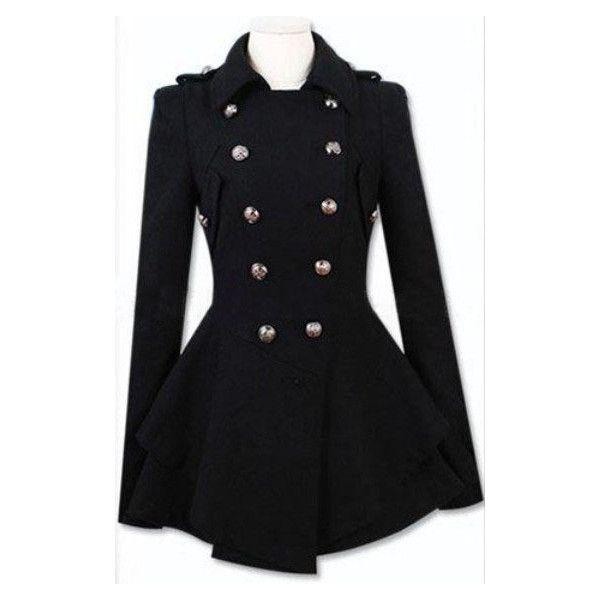 Black Military Double Skirt Hem Woolen Coat ($81) ❤ liked on Polyvore