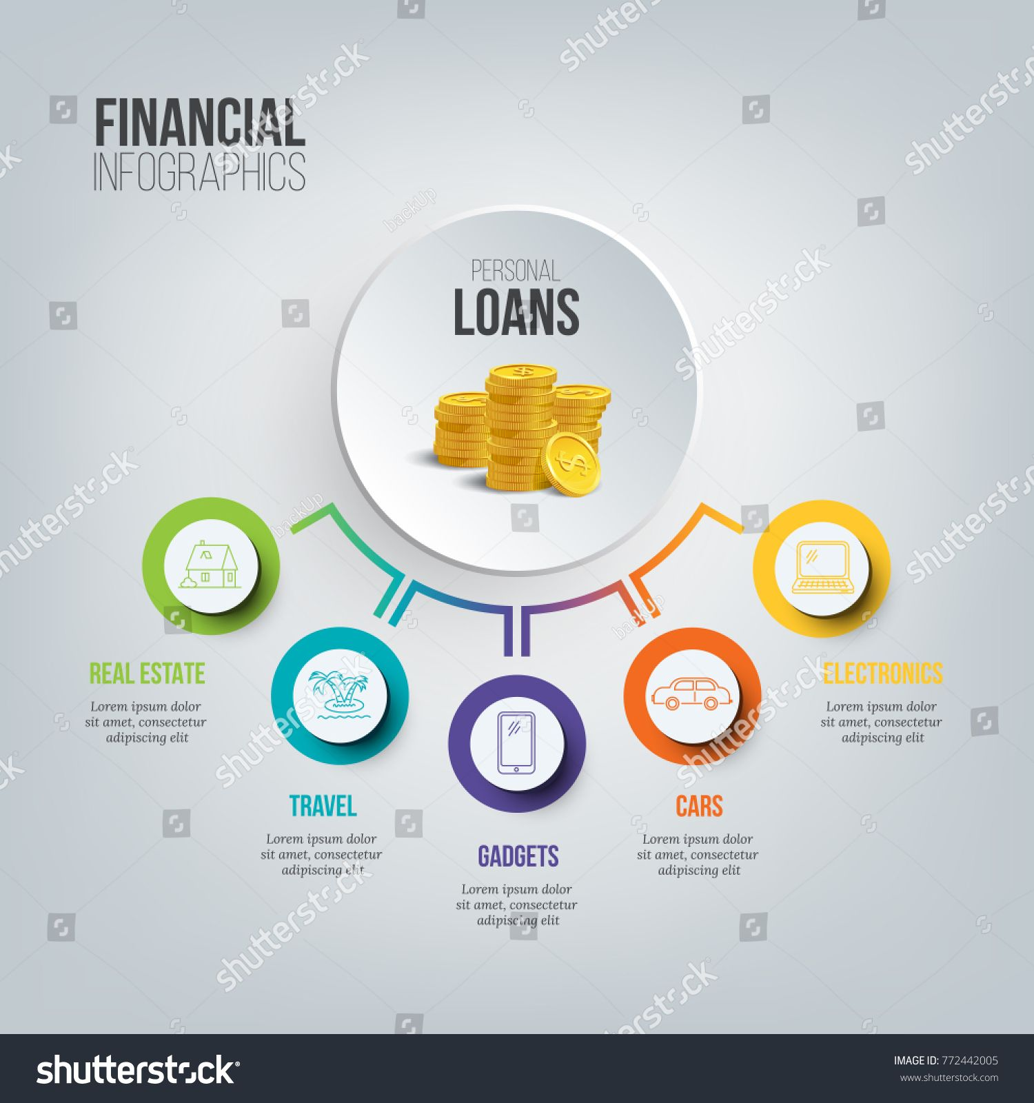 Financial Infographics Personal Loans Illustration Vector Consumer Credit Marketing Template Loans Illustration Infographic Personal Loans Marketing Template
