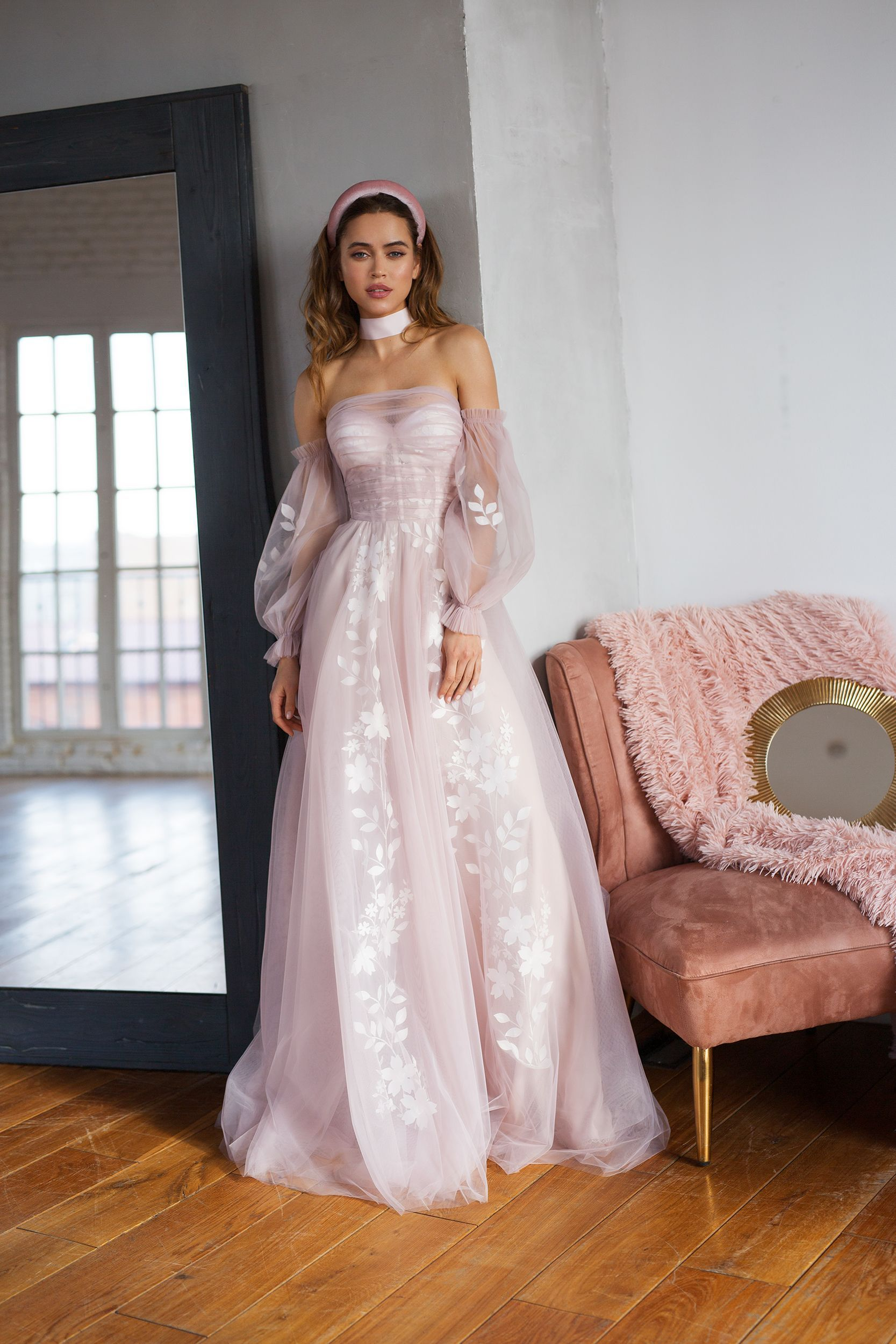 Blush pink wedding dress, bohemian off shoulder dress