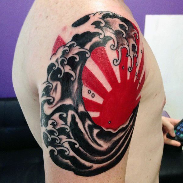 Red And Black Japanese Sun Tattoo For Guys On Upper Arm Cool