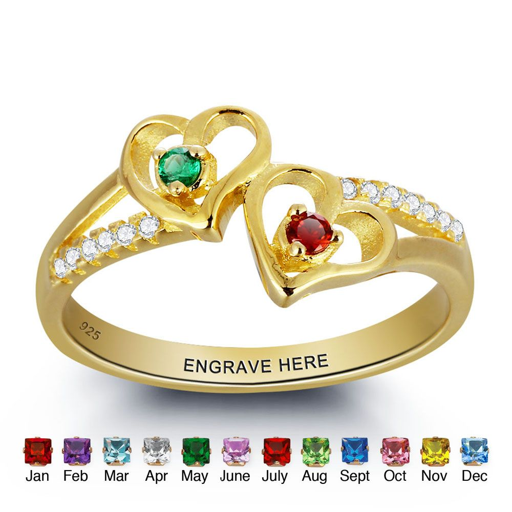 7a3178913e0cf Engrave & Birthstone Personalized Silver Ring DIY Double Heart Name ...