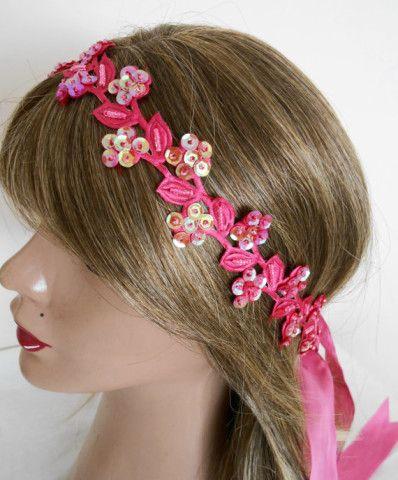 Hair bands, spring branch, floral hair band, women's accessories, women's fashion, bridesmaid hair band, fuchsia, pink, wedding accessories