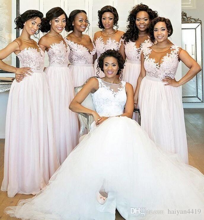 46f499aa9f698 2017 New Sexy Bridesmaid Dresses Jewel Neck Illusion Cap Sleeves ...