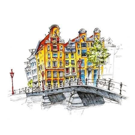 dessin la main couleur vue sur la ville d amsterdam. Black Bedroom Furniture Sets. Home Design Ideas
