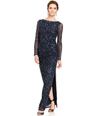 Patra Long-Sleeve Sequin Gown