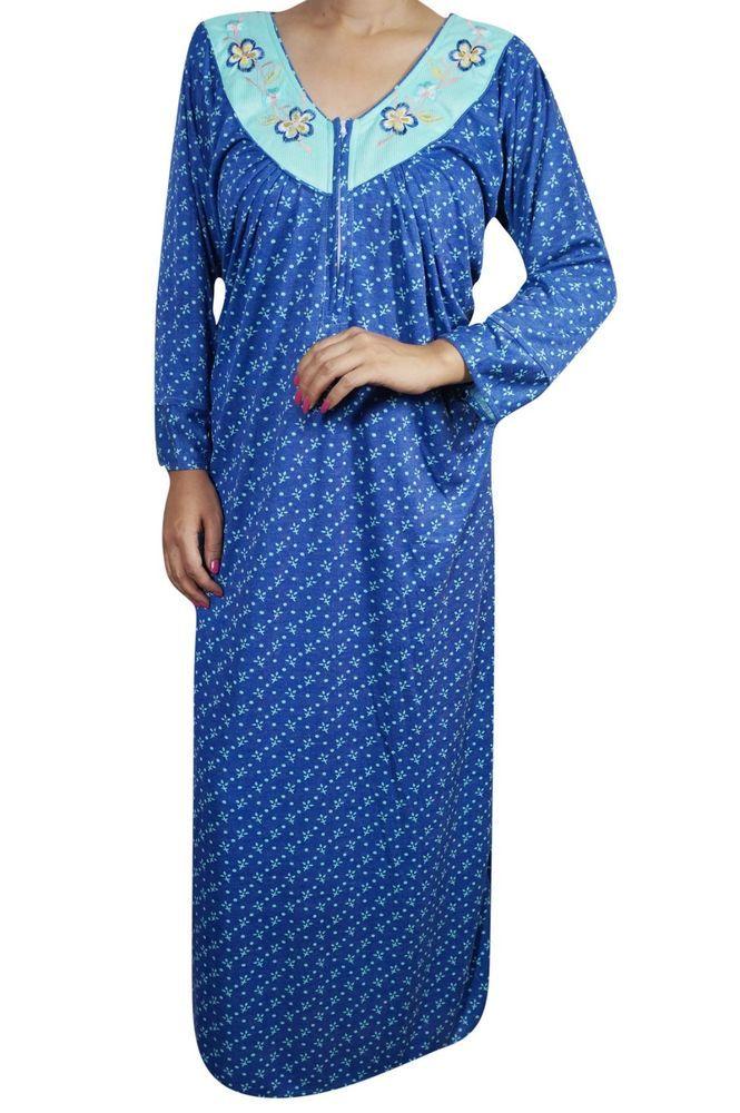 Indiatrendzs Women\'s Nightwear Hosiery Printed Maxi Night Gown ...