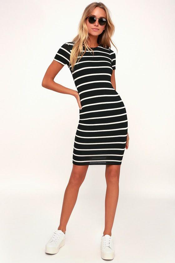 Drop Me a Line Black and White Striped Bodycon Dress   Black