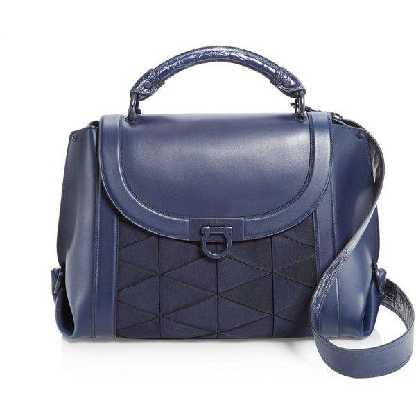 55e1a50ca5 Salvatore Ferragamo Suzanna Crocodile Handle Leather Satchel ( 3