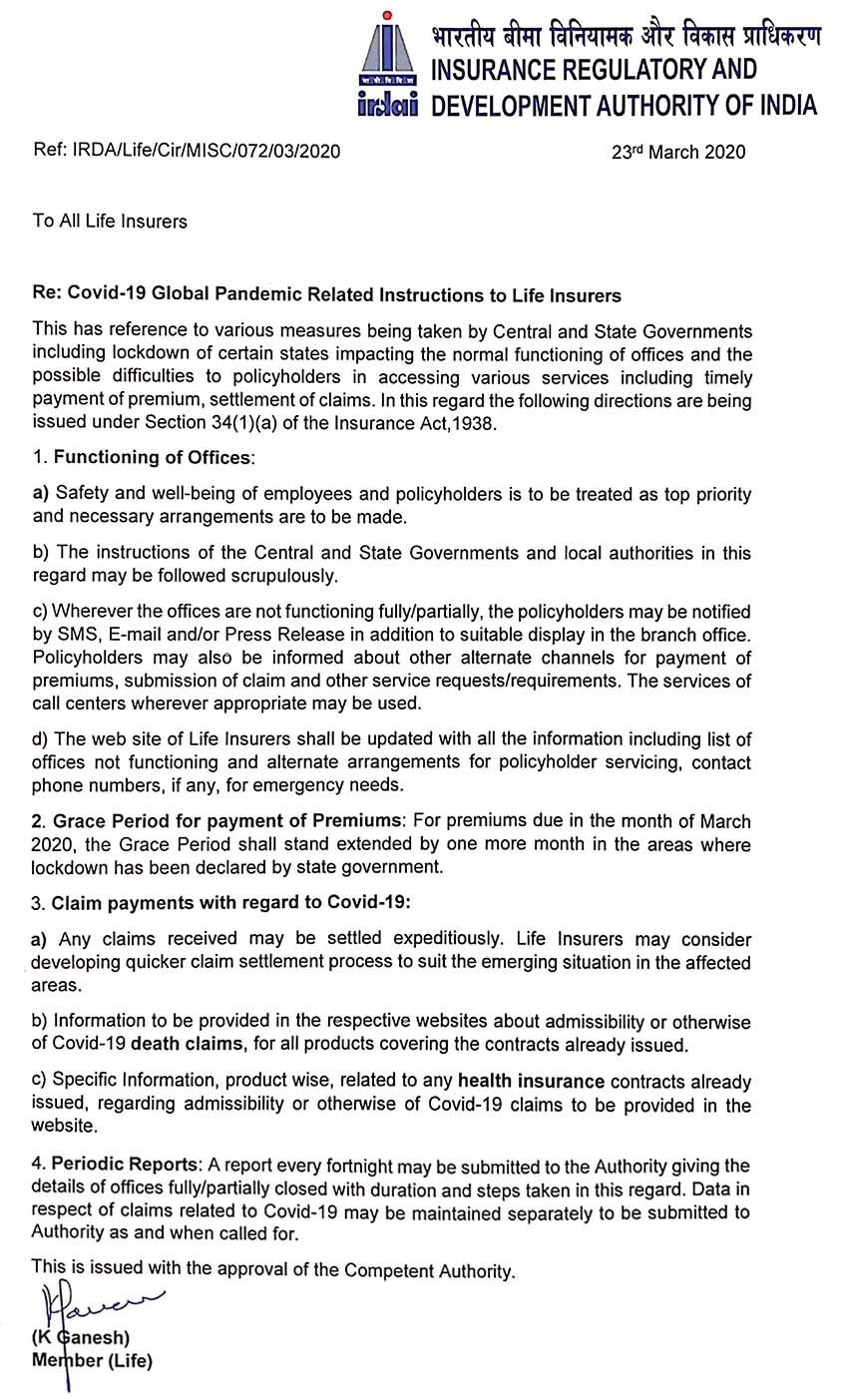 Corona Update 25 March 2020 Irdai Instructed Insurance