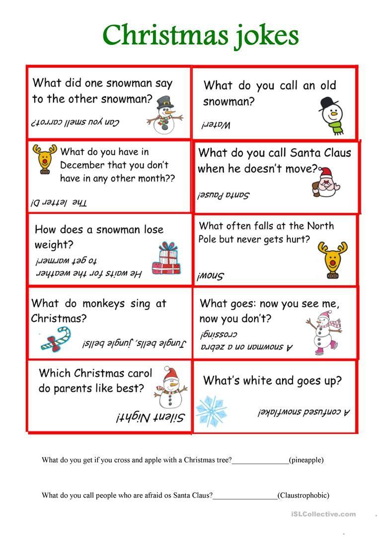 Christmas jokes worksheet Free ESL printable worksheets
