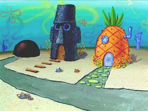 Spongebob Houses Spongebob Drawings Spongebob Painting