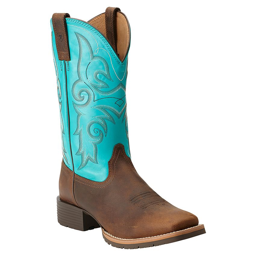 Turquoise Womens Vintage Leather Broad Square Toe Cowboy Boots