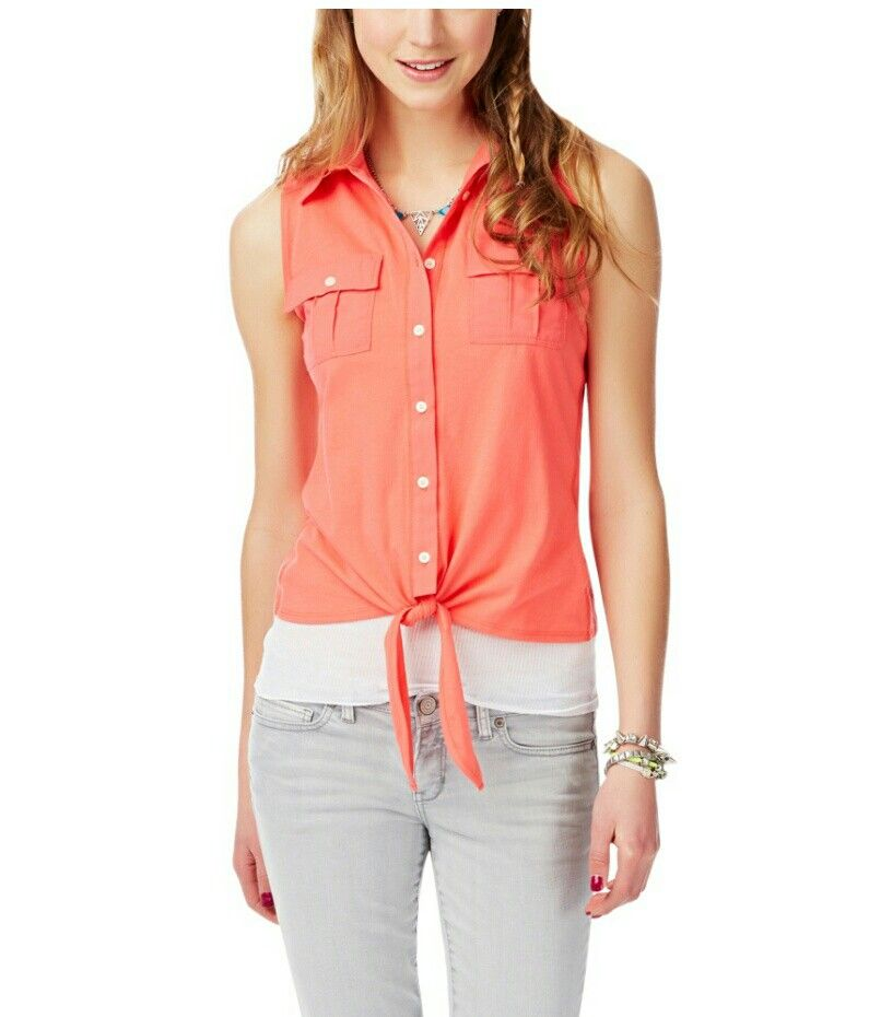 Aeropostale Womens Ruffled Ribbed Placket Sheer Dolman Blouse