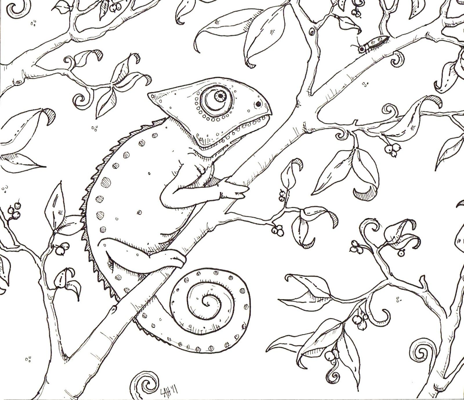 Hedgie\'s Desk: Chameleon Coloring Page | Fonts | Pinterest