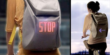 SEIL backpack by Lee Myung uses LEDs to display traffic signals.