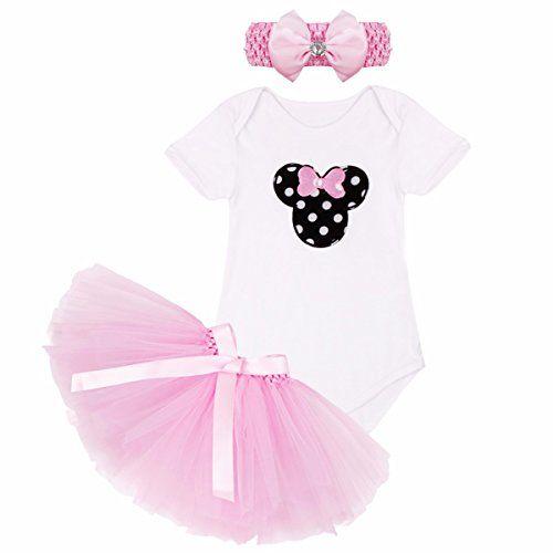 3fc53c3f86 iEFiEL Conjunto un Pelele + una Falda Tutú + una Banda de Cabeza para  Recién Nacidos Vestidos para Bebé Niña Rosa Lunares 0 3 Meses