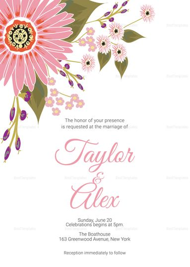 Floral Wedding Invitation Card Template Wedding Invitation Designs