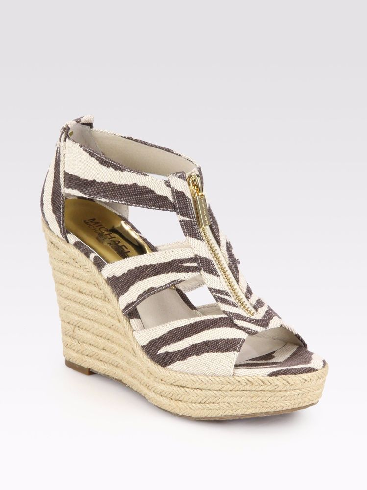 8ddff61b136 Michael Kors Brown Damita Zebra print Canvas Wedge Sandals Gold Zip ...