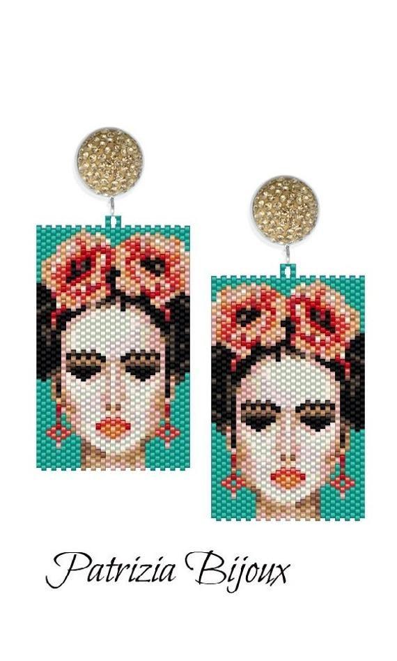 Schema Peyote - Earrings Model Frida Inspiration - Tecnica peyote dispari con Delica Miyuki 11/0 - Patterns 609 Tutorial pdf #craftstosell