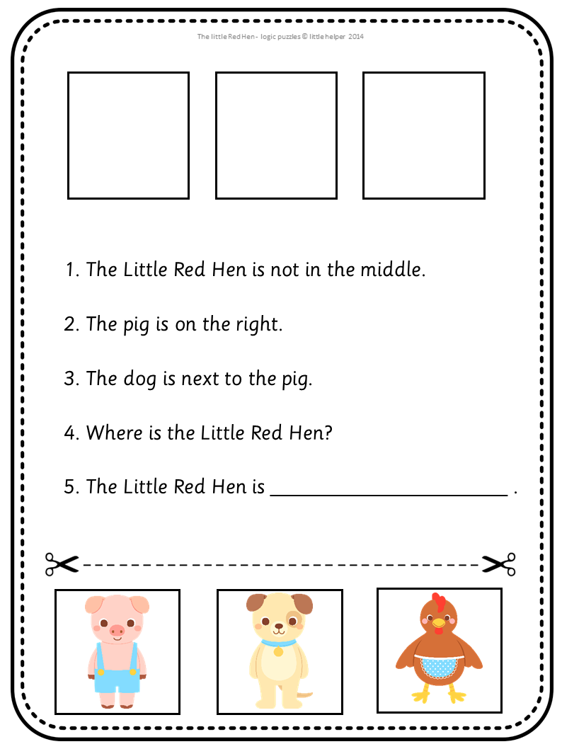 Logic Puzzles The Little Red Hen | Logic puzzles, Red hen and ...