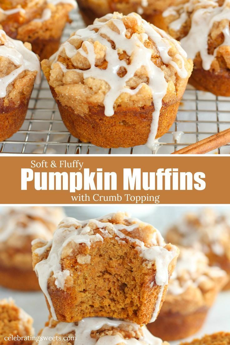 Soft and fluffy Pumpkin Muffins topped with a brown sugar crumble and cinnamon icing. #pumpkinmuffins #pumpkinbread #pumpkinspice #fallbaking #pumpkinmuffins