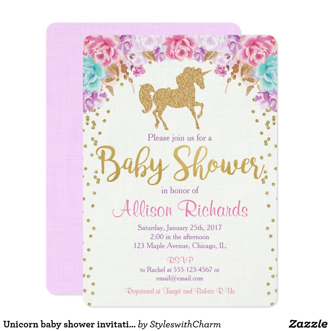 Unicorn Baby Shower Invitation Pink And Gold In 2018 Ideas Pinterest